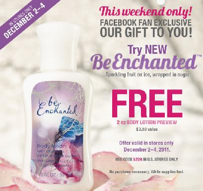 FREE Bath and Body Works Lotion Sample