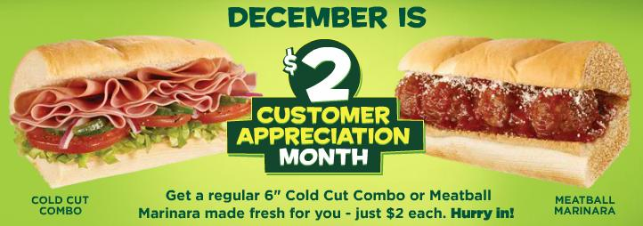 Subway  December Subs Deal