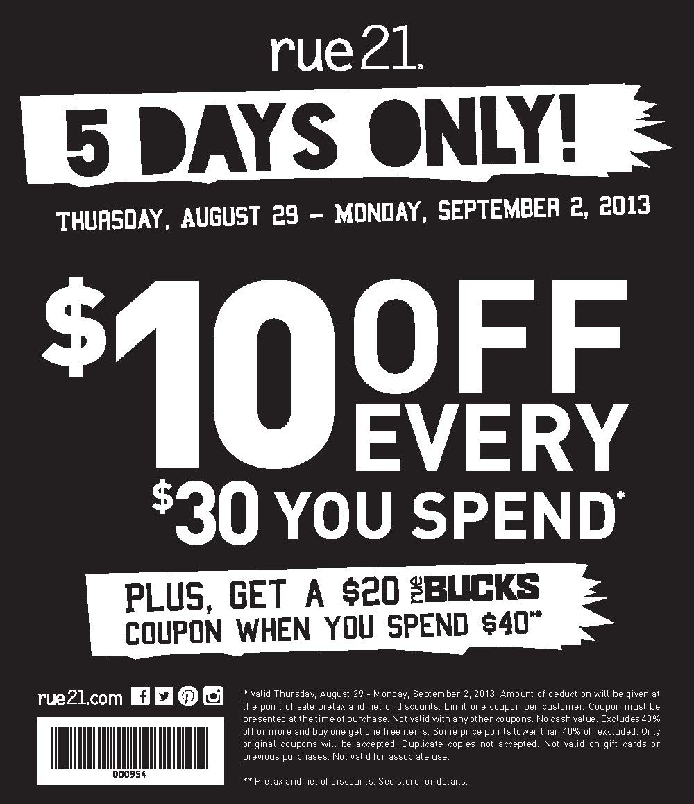 photograph relating to Rue 21 Printable Coupons identified as Rue 21 Coupon!